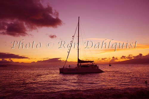 Sailboat at sunset, Lahaina, Maui, Hawaii