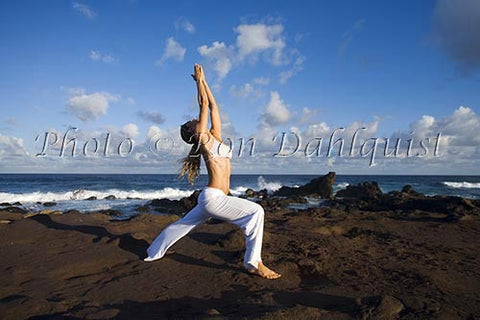 Early morning yoga on the north shore of Maui, Hawaii - Hawaiipictures.com