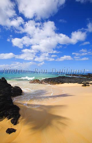 Beautiful Secret Beach in Makena, Maui, Hawaii Picture Stock Photo - Hawaiipictures.com