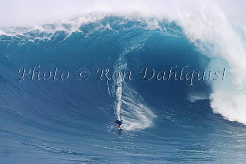 Makua Rothman, winning photo of the biggest wave ridden for the Billabong XXL contest. Jaws, Peahi,