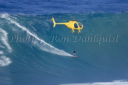 Surfer, Dave Kalama, on a big day at Peahi, also known as Jaws, Maui, Hawaii MNR Picture Photo