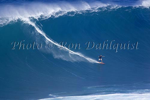 Surfer, Dave Kalama, on a big day at Peahi, also known as Jaws, Maui, Hawaii MNR Picture