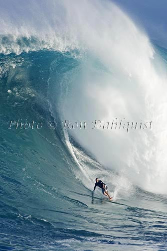 Surfer, Dave Kalama, on a big day at Peahi, also known as Jaws, Maui, Hawaii MNR