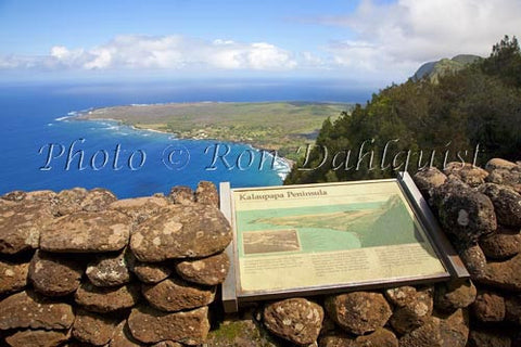 Kalaupapa overlook at the Palaau State Park. View of the Kalaupapa peninsula, Molokai, Hawaii Picture Photo Stock Photo