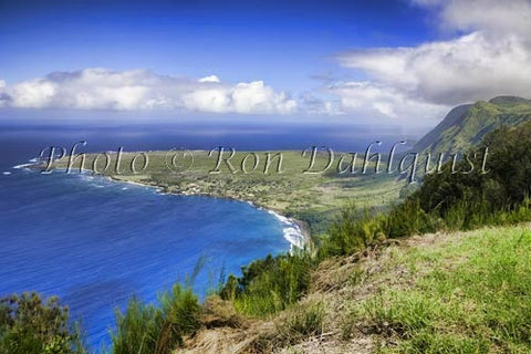 Kalaupapa overlook at the Palaau State Park. View of the Kalaupapa peninsula, Molokai, Hawaii Stock Photo