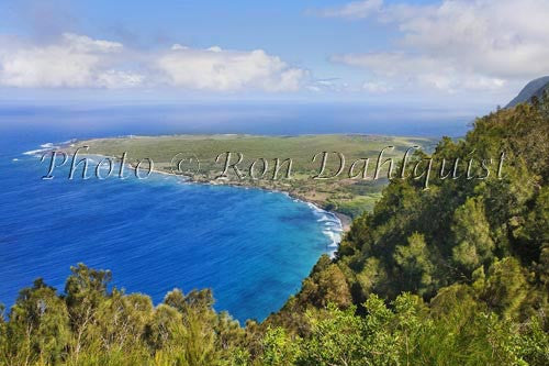 Kalaupapa overlook at the Palaau State Park. View of the Kalaupapa peninsula, Molokai, Hawaii Photo
