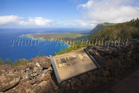 Kalaupapa overlook at the Palaau State Park. View of the Kalaupapa peninsula, Molokai, Hawaii Picture Photo