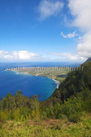 Kalaupapa overlook at the Palaau State Park. View of the Kalaupapa peninsula, Molokai, Hawaii