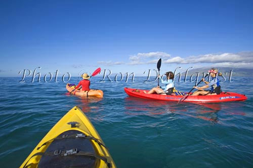 Kayaking off the south shore of Maui, Hawaii Picture Photo Stock Photo