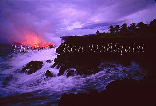 Lava from Kilauea volcano, flowing into the sea. Big Island of Hawaii Picture Stock Photo