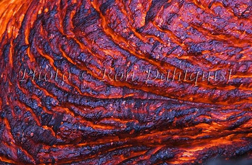 Molten pahoehoe lava surface flow. East Rift Zone of Kilauea Volcano, Big Island of Hawaii Picture Photo - Hawaiipictures.com