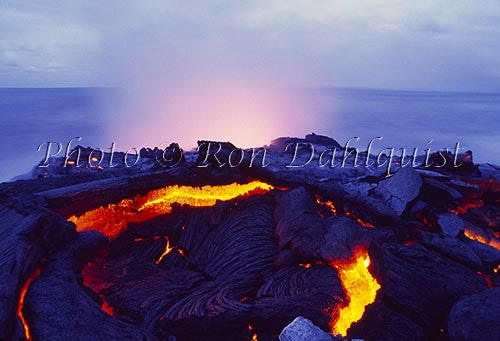 Lava from Kilauea volcano, flowing into the sea. Big Island of Hawaii Photo