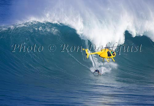 Surfer, Laird Hamilton, on a big day at Peahi, also known as Jaws, Maui, Hawaii MNR Picture