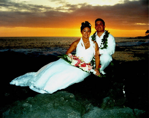 Picture Of Hawaiian Wedding Couple At Sunset