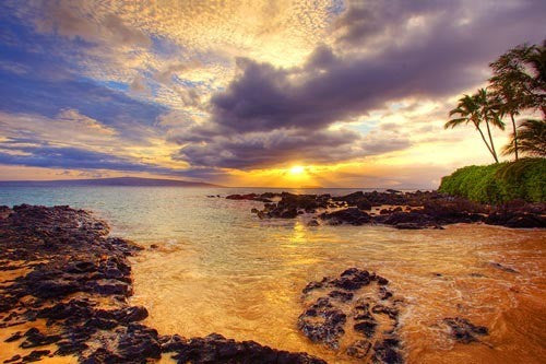 Makena Sunset with Kahoolawe in distance, Maui, Hawaii