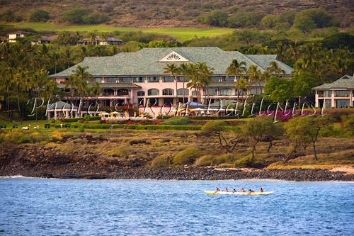 View of Four Seasons Resort at Manele Bay on Lanai, Hawaii