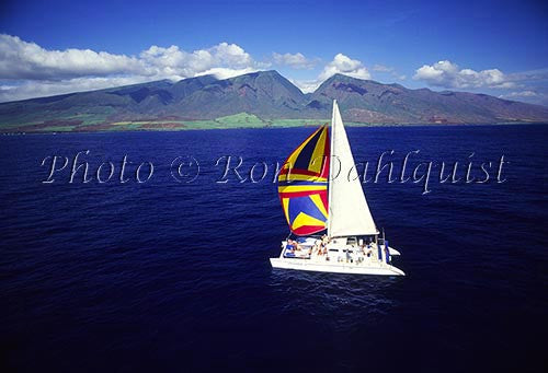 Trilogy sailboat with Maui in the background, Hawaii