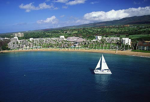 Sailboat and Kaanapali Resort, Maui, Hawaii