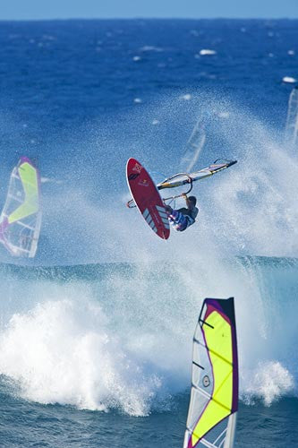 17yr. old Kai Lenny windsurfing at Hookipa on Maui's north shore, Hawaii - Hawaiipictures.com