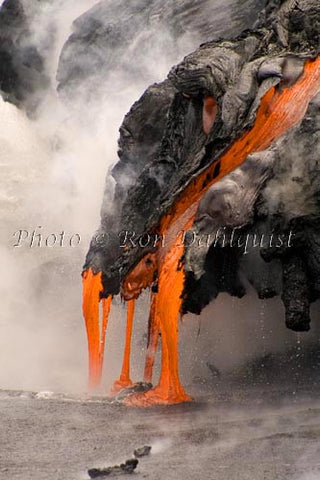 Lava from Kilauea volcano pouring into the sea. Big Island of Hawaii Picture
