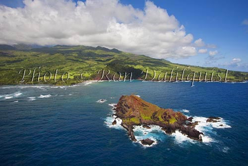 Aerial of Alau Islet, Koki Beach and Hana area, Maui, Hawaii Picture Photo - Hawaiipictures.com