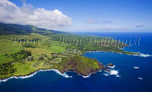 Aerial of Hana Maui Resort, Hana, and Hana Bay, Maui Hawaii Picture Photo - Hawaiipictures.com