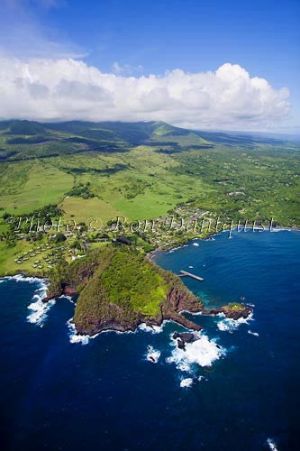 Aerial of Hana Maui Resort, Hana, and Hana Bay, Maui Hawaii - Hawaiipictures.com