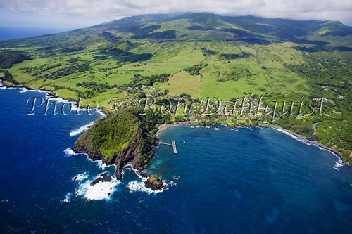 Aerial of Hana Maui Resort, Hana, and Hana Bay, Maui Hawaii Picture - Hawaiipictures.com