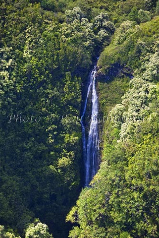 Aerial of upper Wailua Waterfall near Hana, Maui, Hawaii - Hawaiipictures.com