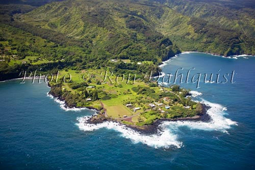 Aerial of the Keanae peninsula, Maui, Hawaii Picture - Hawaiipictures.com