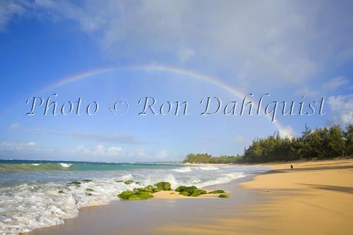 Rainbow over Baldwin Beach, north shore of Maui, Hawaii