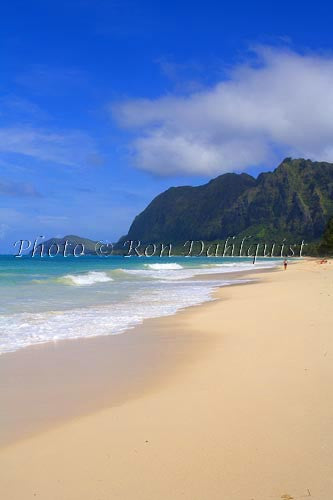 Waimanalo Beach Park, beautiful, empty, sandy beach with cliffs in distance. Oahu, Hawaii - Hawaiipictures.com
