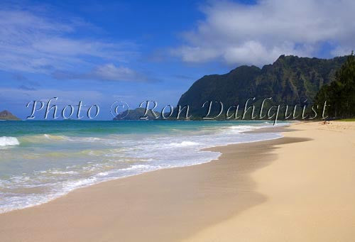 Waimanalo Beach Park, beautiful, empty, sandy beach with cliffs in distance. Oahu, Hawaii Picture