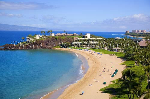 Kaanapali Beach and Black Rock, Maui, Hawaii Picture Photo