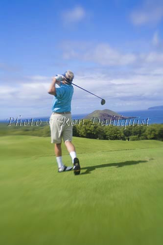 Man golfing at Wailea Gold Golf Course, Maui, Hawaii - Hawaiipictures.com