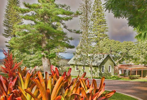 Hawaii, Lanai, The Ka Lokahi Oka Malamalma Church is located close to the Four Seasons Hotel at Koel