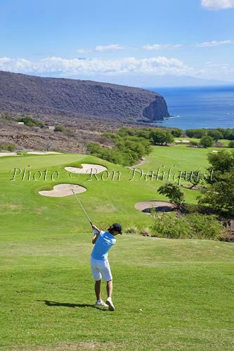 Woman golfing on The Challenge at Manele Golf Course, Lanai MR Photo Stock Photo