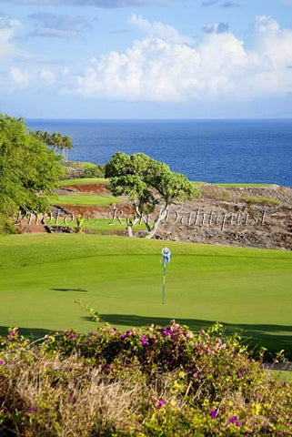 Woman golfing on The Challenge at Manele Golf Course, Lanai MR Picture Stock Photo - Hawaiipictures.com
