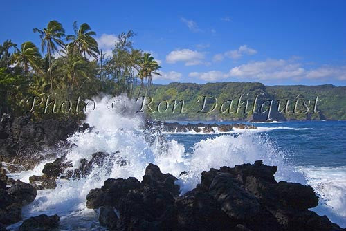 Waves breaking at Keanae peninsula, north shore of Maui, Hawaii - Hawaiipictures.com