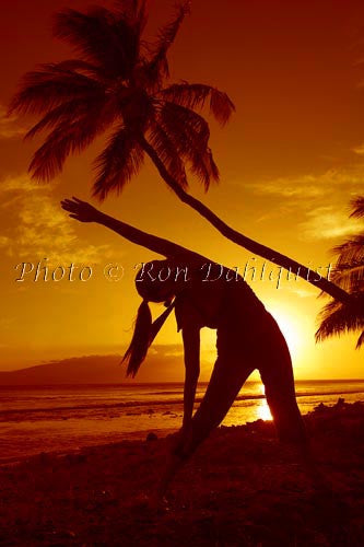 Silhouette of yoga postures at sunset with palm trees, Maui, Hawaii Picture