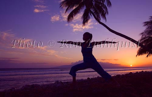 Silhouette of yoga postures at sunset with palm trees, Maui, Hawaii Photo