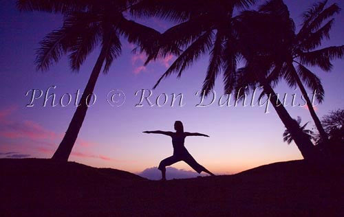 Silhouette of yoga postures at sunset with palm trees, Maui, Hawaii Picture Stock Photo