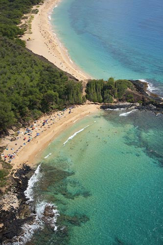 Aerial of Little Beach and Big Beach, Makena, Maui, Hawaii - Hawaiipictures.com