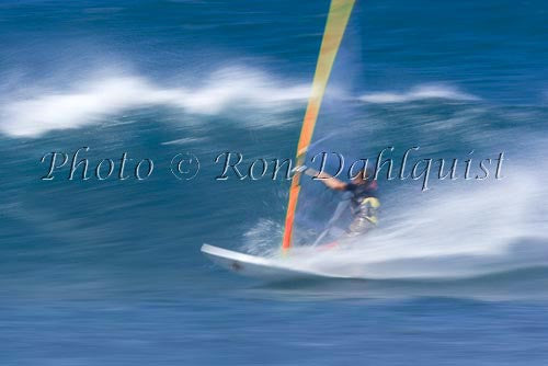 Windsurfing-Windsurfer on wave at Hookipa, Maui, Hawaii Photo