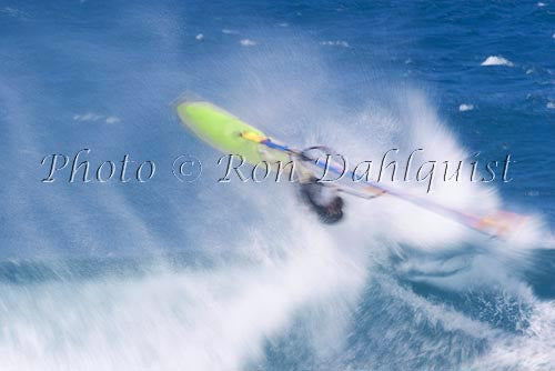 Windsurfing-Windsurfer on wave at Hookipa, Maui, Hawaii Picture - Hawaiipictures.com