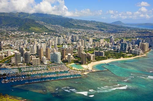Hawaii, Oahu, Aerial of Waikiki Hotels and Ala Wai Yacht Harbor Picture