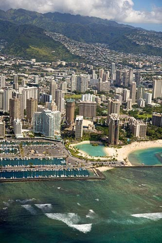 Hawaii, Oahu, Aerial of Waikiki Hotels and Ala Wai Yacht Harbor