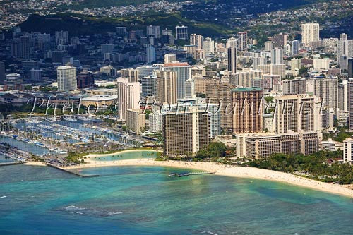 Hawaii, Oahu, Aerial of Waikiki Hotels and Ala Wai Yacht Harbor Picture Photo