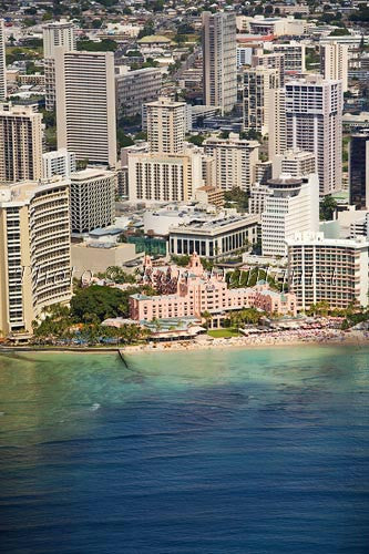 Hawaii, Oahu, Waikiki, Aerial of Royal Hawaiian Hotel.