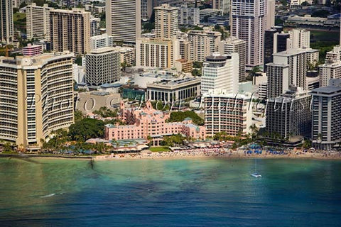 Hawaii, Oahu, Waikiki, Aerial of Royal Hawaiian Hotel. Picture - Hawaiipictures.com